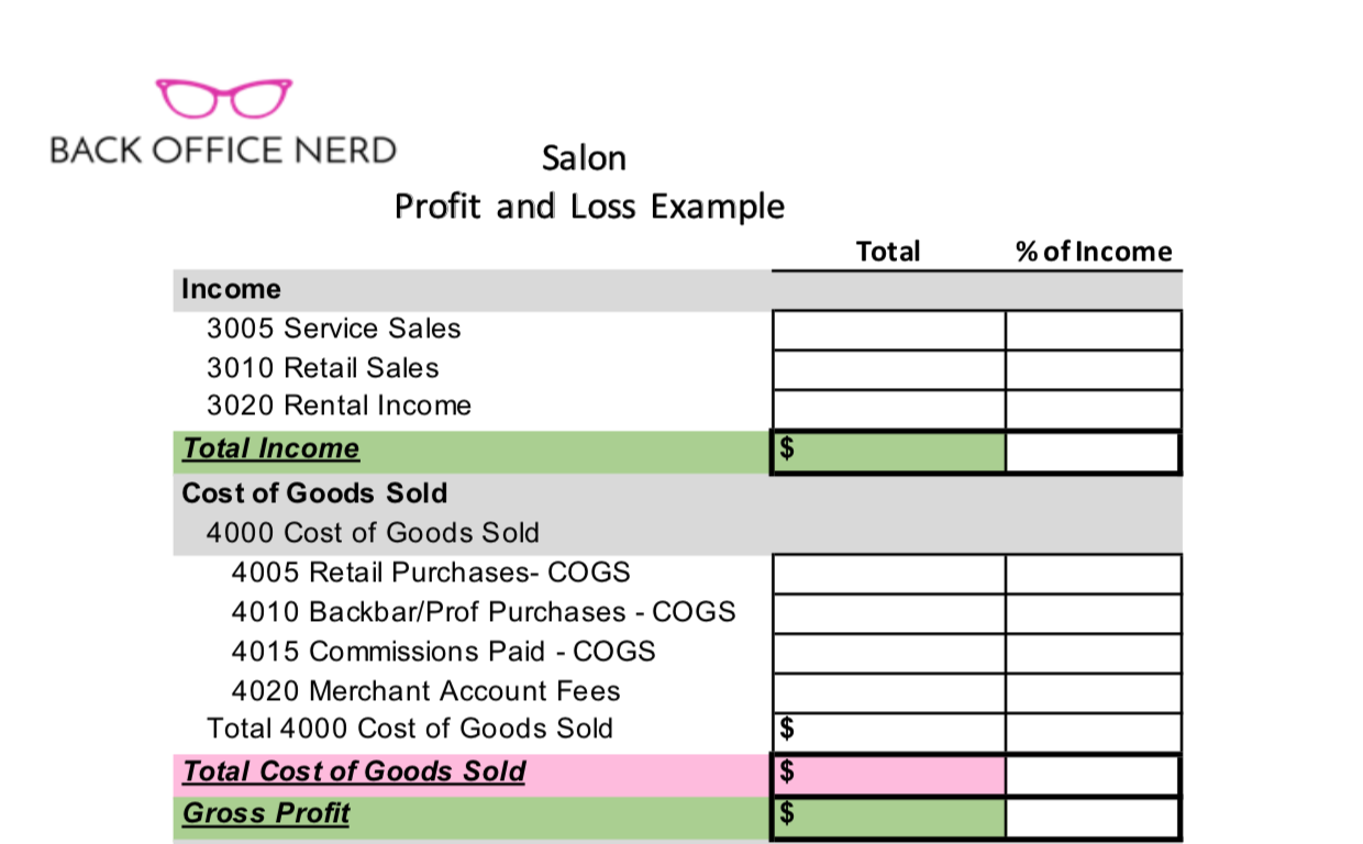 Salon Profit  U0026 Loss Sheet  Template
